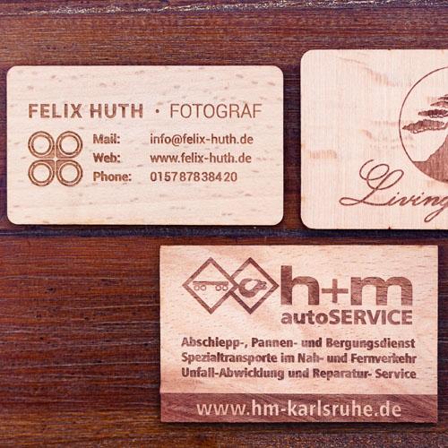 Holz-Visitenkarten